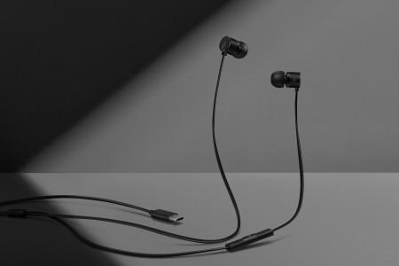 OnePlus Bullets V2 headphones with a USB-C plug