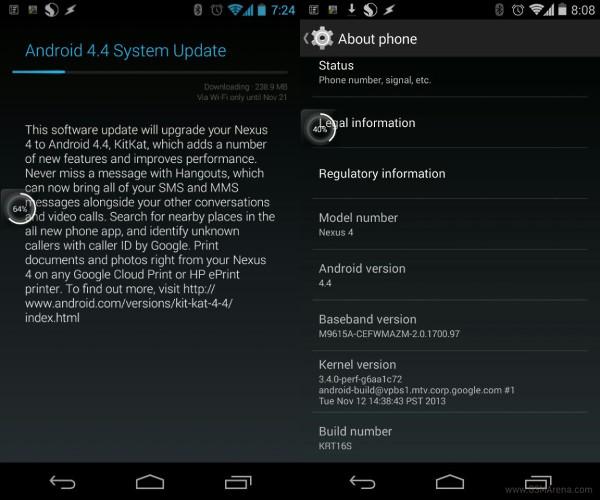 nexus 4 android kitkat