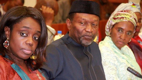 Minister of State, National Planning and Budget, Hajia Zainab Ahmed, Minister, National Planning and Budget, Senator Udo Udoma and Minister of Finance, Mrs Kemi Adeosun PHOTO: PHILIP OJISUA