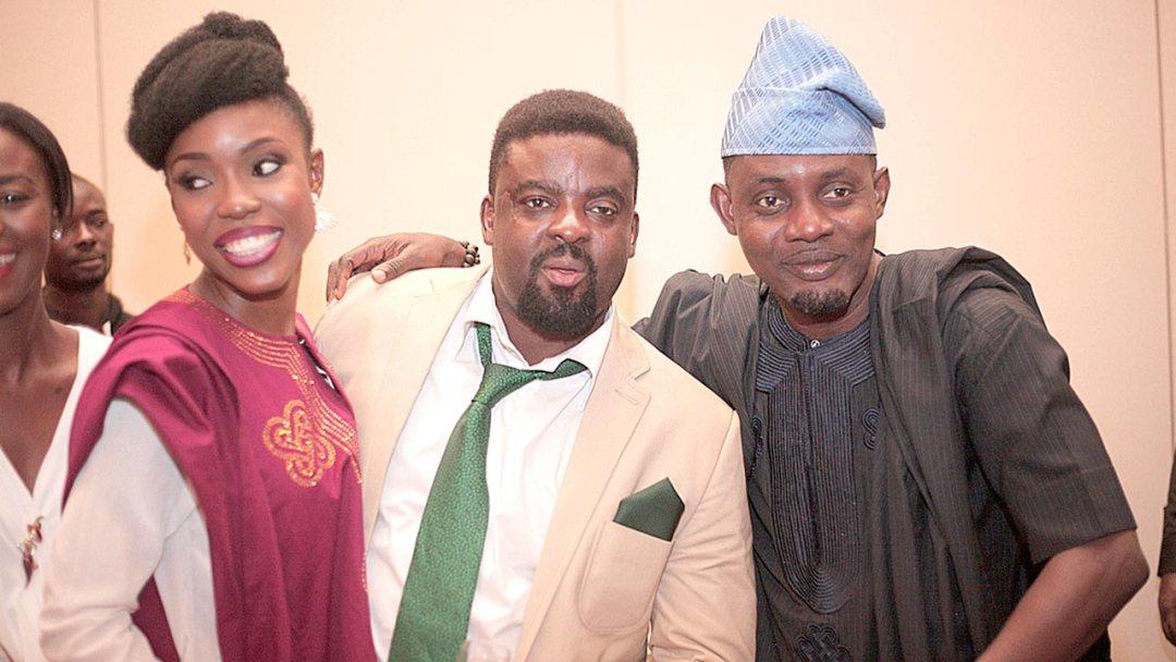 Lala Akindoju; Producer and Director, Mr. Kunle Afolayan and Comedian Mr. Ayo Makun (AY) at the premiere… in Lagos