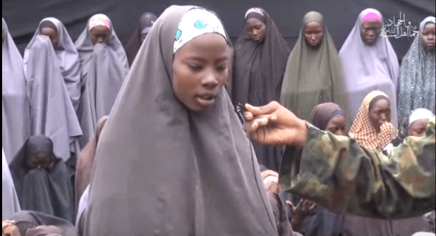 A screenshot of the video released by Boko Haram showing alleged Chibok Girls who were kidnapped from their school on April 14, 2014.