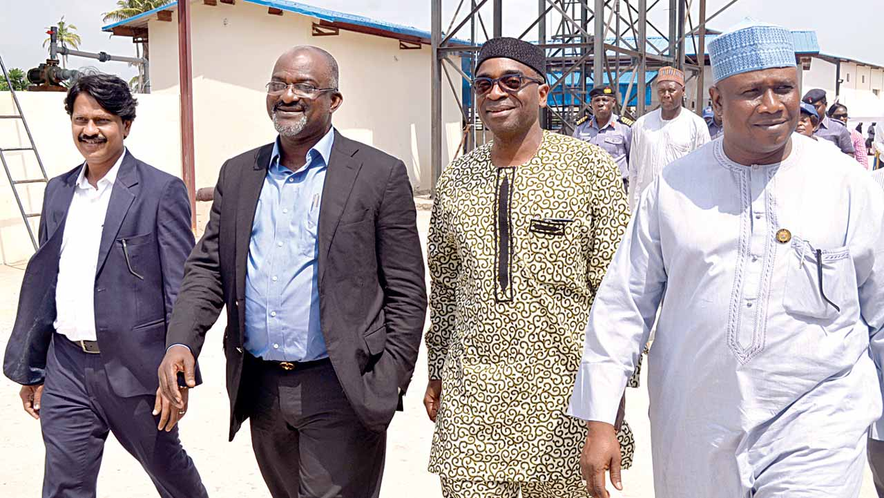 Managing Director, Atlantic Shrimpers Limited, Kamlesh Kabra (left); Officer, Notary Public, Bankole Animashaun; Executive Director/Chief Executive Officer, Nigerian Export Promotion Council (NEPC), Olusegun Awolowo; and the Commissioner for Agriculture, Lagos State Ministry of Agriculture, Suara Isiaka Oluwatoyin, during the inauguration of Atlantic Shrimp farm, in Badagry, Lagos.