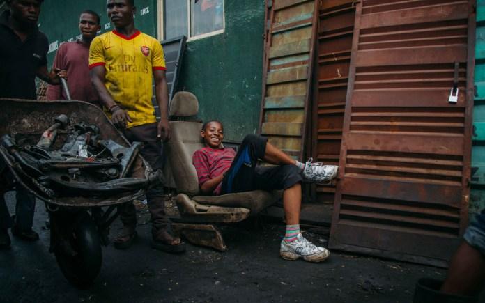 Boy smiling in Ladipo market PHOTO: Seun O