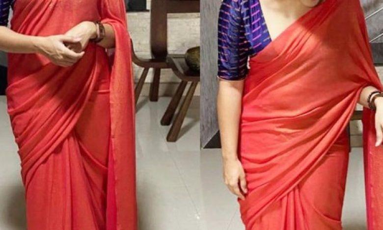 Pic Talk: Nivetha looks Stylish & Sexy in Red Saree