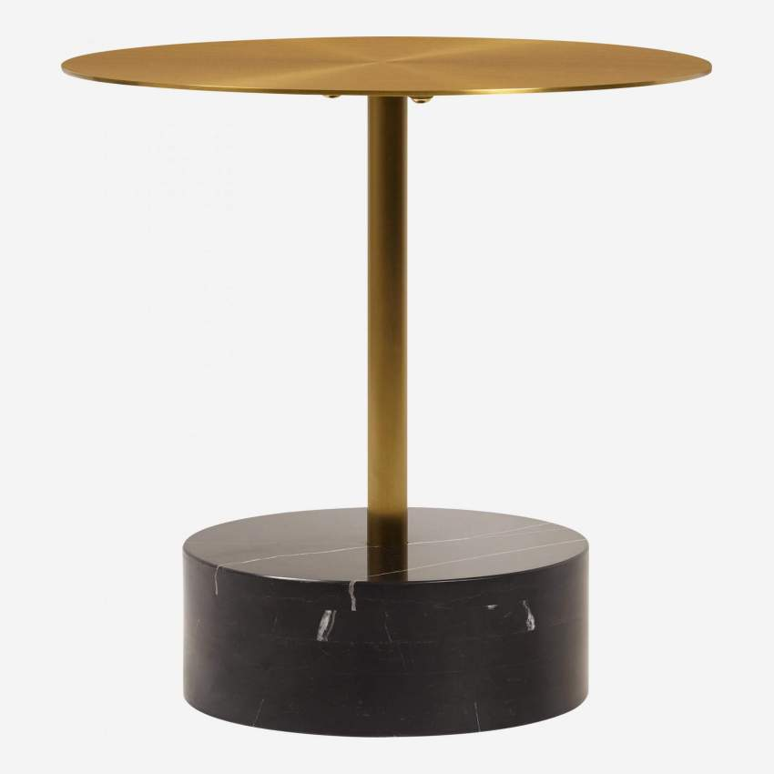 table d appoint ronde marbre dore