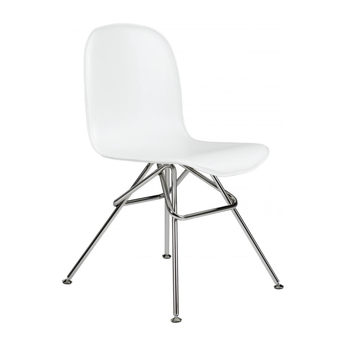 chair steel legs chairs for toddlers loyd with white faux leather cover and chrome n 1