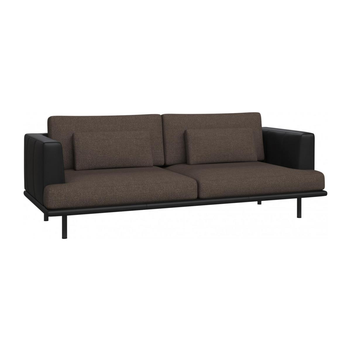 3 seater sofa black leather pink and grey baci in lecce fabric muscat with base armrests n