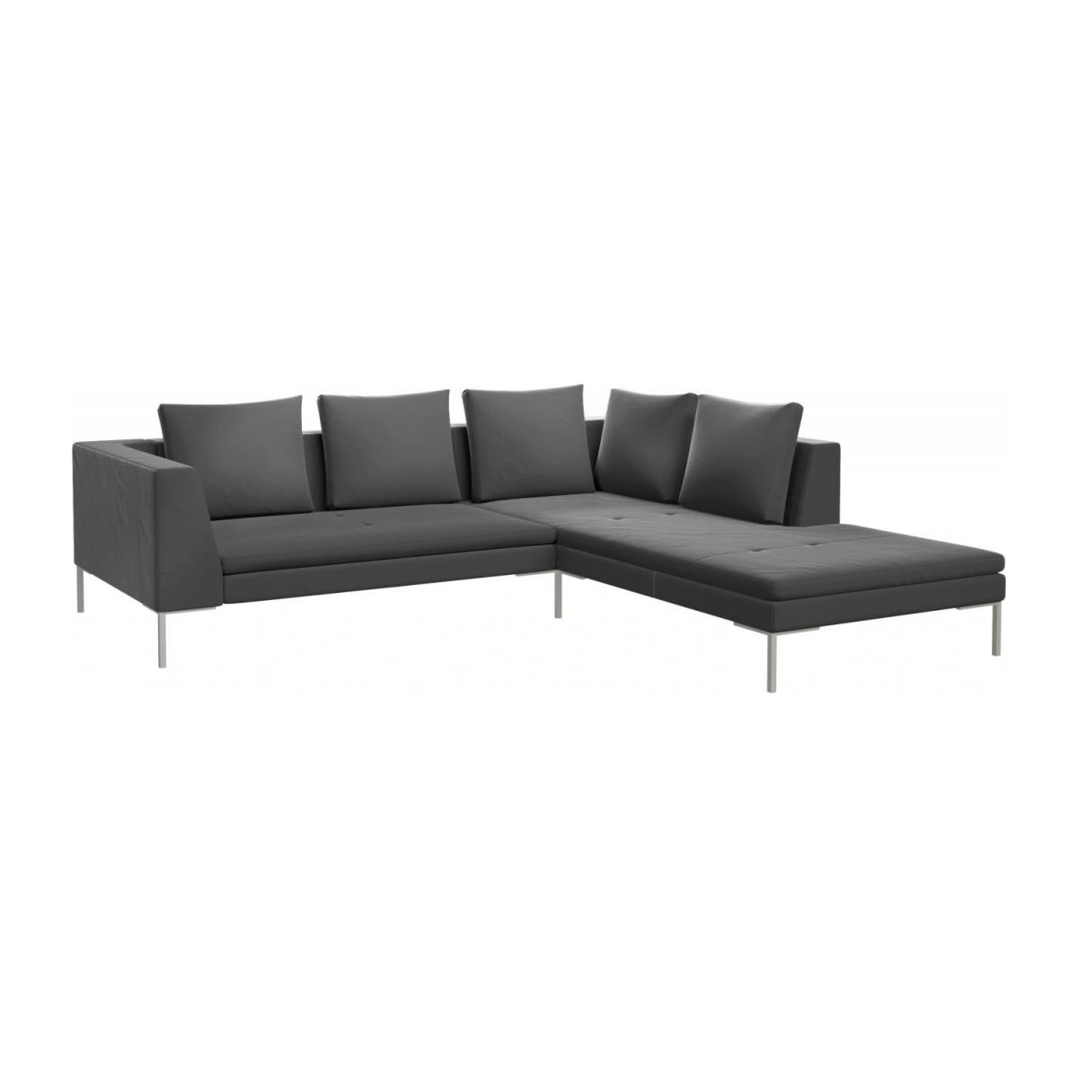 duck feather corner sofa leather set l shaped montino 2 seater with chaise longue on the right in super velvet fabric silver grey