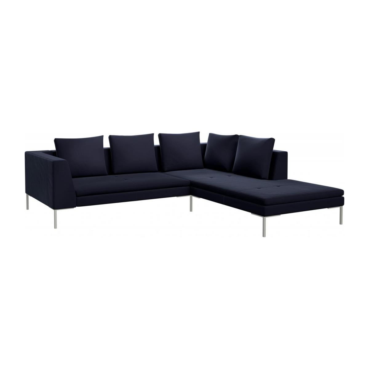duck feather corner sofa fabric recliner canada montino 2 seater with chaise longue on the right in super velvet dark blue