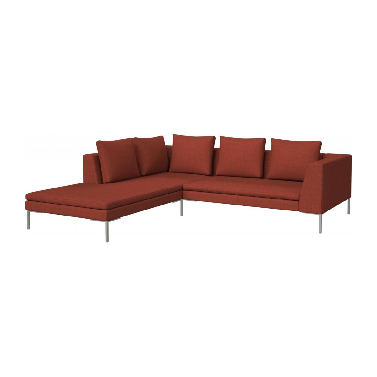 sofa w chaise tidafors bed dimensions montino 2 seater with longue on the left in fasoli fabric warm red rock