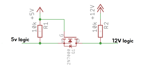 small resolution of i wanted to use 12v logic on it but my mcu uses 5v logic so i used a mosfet based level shifter the circuit based on this site