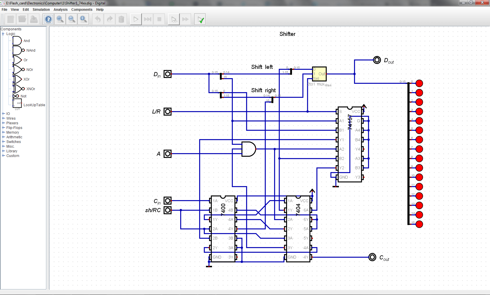 hight resolution of fast adder takes in c in a in and b outputs s and c out it is comprised of four chained 4 bit fast adder units constructed from simple logic gates