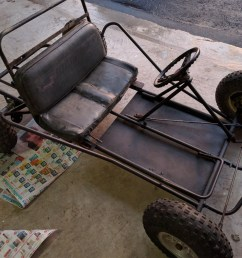 this is the rolling chassis that we purchased for about 125 it s in good condition except for the rotted seat and missing throttle pedal  [ 1920 x 1436 Pixel ]