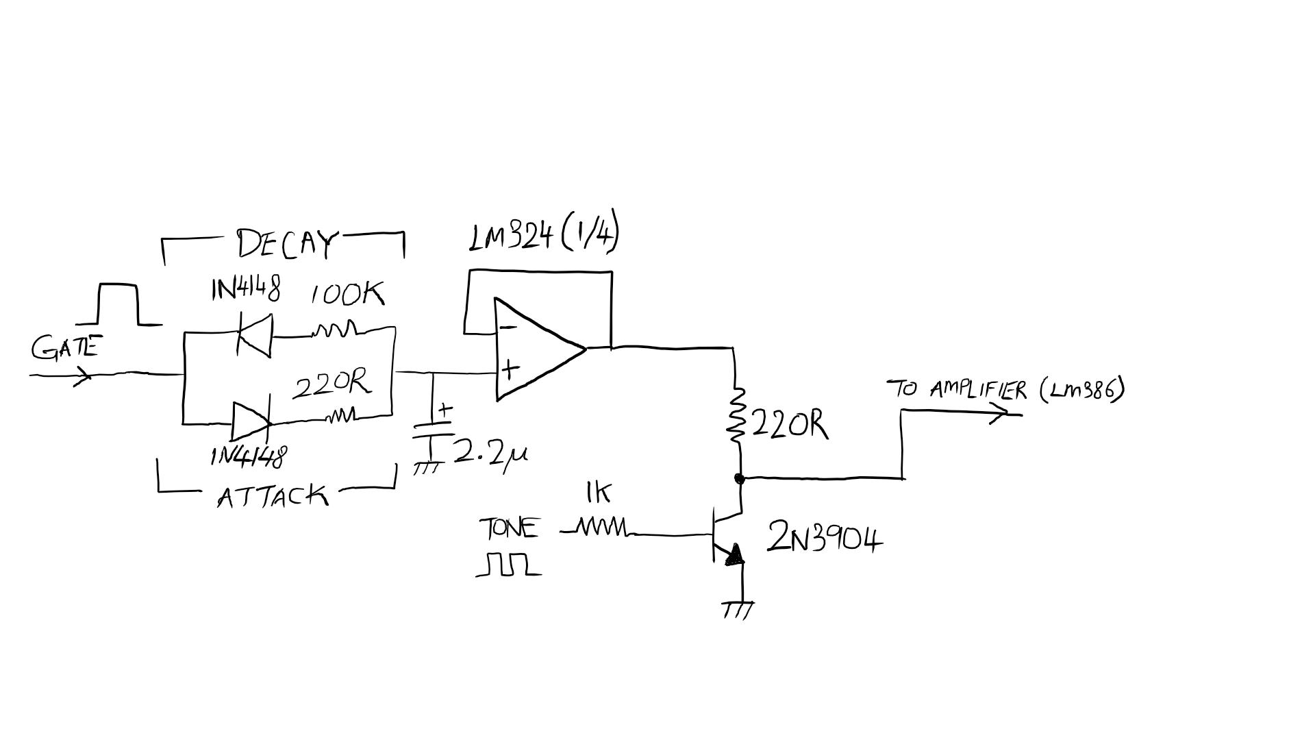 hight resolution of to reduce the extra components used and as a prototype i modified this to the following schematic apologies for my crappy handwriting i used a cheap