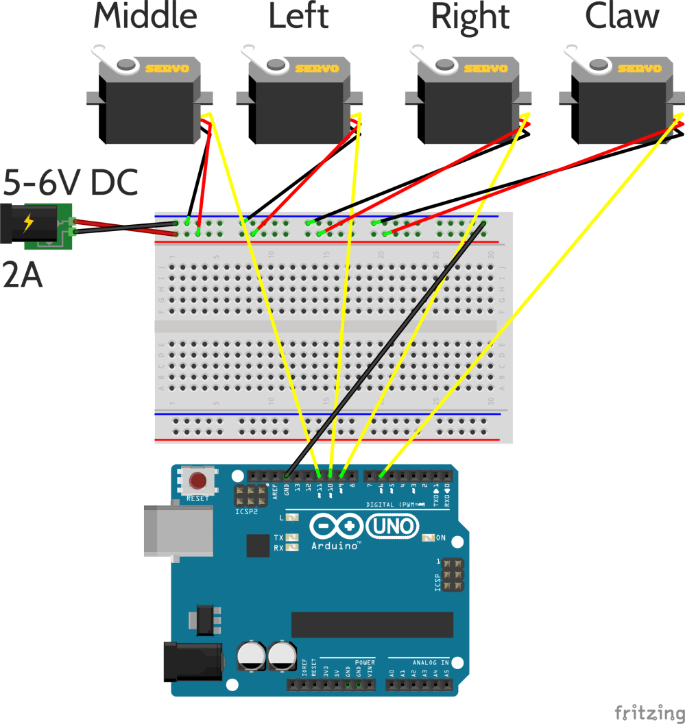 medium resolution of i wrote a program to generate smooth position profiles to output to the servos the arduino main program mearm ino connects the usb serial i o and the