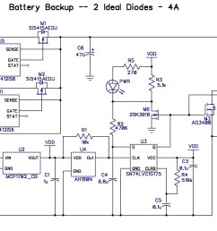 or consumes 10x my current budget so i bit the bullet and added another ltc4412 to control the b1 input here s the third pass schematic  [ 1475 x 986 Pixel ]