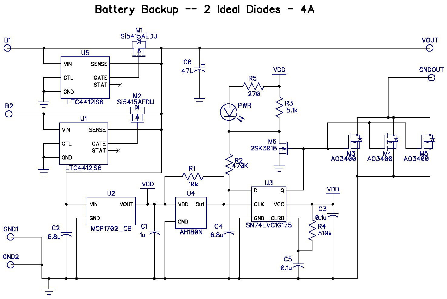 hight resolution of  or consumes 10x my current budget so i bit the bullet and added another ltc4412 to control the b1 input here s the third pass schematic