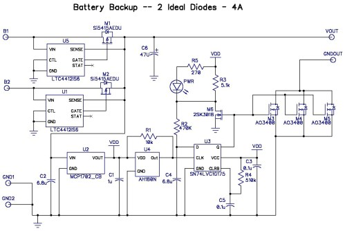 small resolution of  or consumes 10x my current budget so i bit the bullet and added another ltc4412 to control the b1 input here s the third pass schematic
