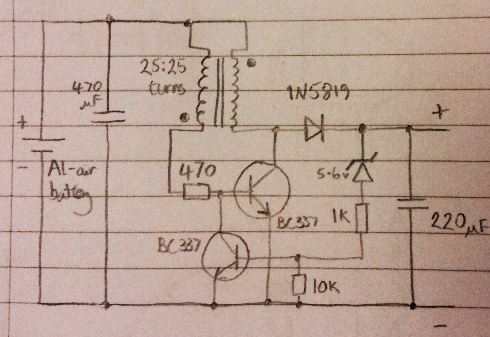 hight resolution of this is a more efficient joule thief than my first attempt shown in an earlier log entry the efficiency of this circuit i e power output from circuit
