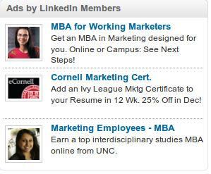 LinkedIn Advertisements on screen