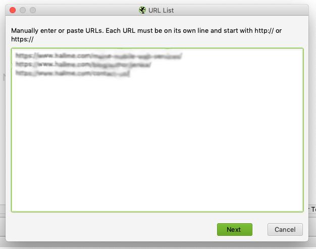 Screenshot of Screaming Frog URL List uploads