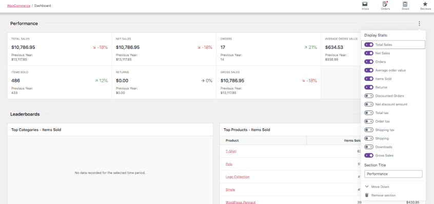WooCommerce dashboard with customizable settings.