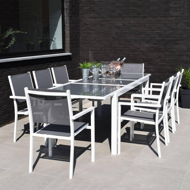 salon de jardin firenze extensible en textilene gris 8 places aluminium blanc