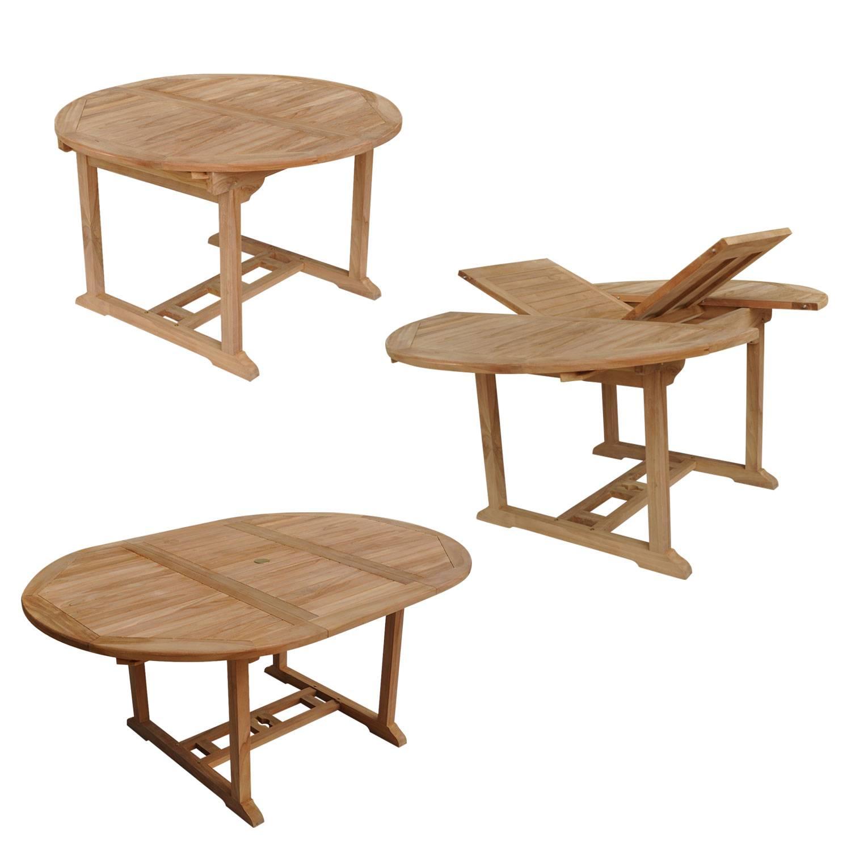 salon de jardin en teck lombok table ronde extensible 6 places