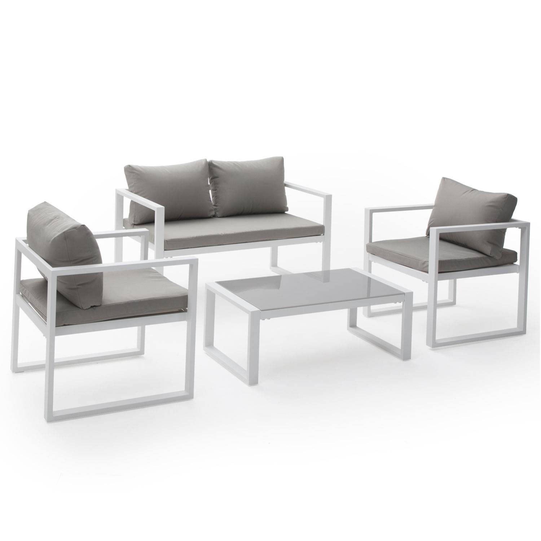 salon de jardin ibiza en tissu gris 4 places aluminium blanc