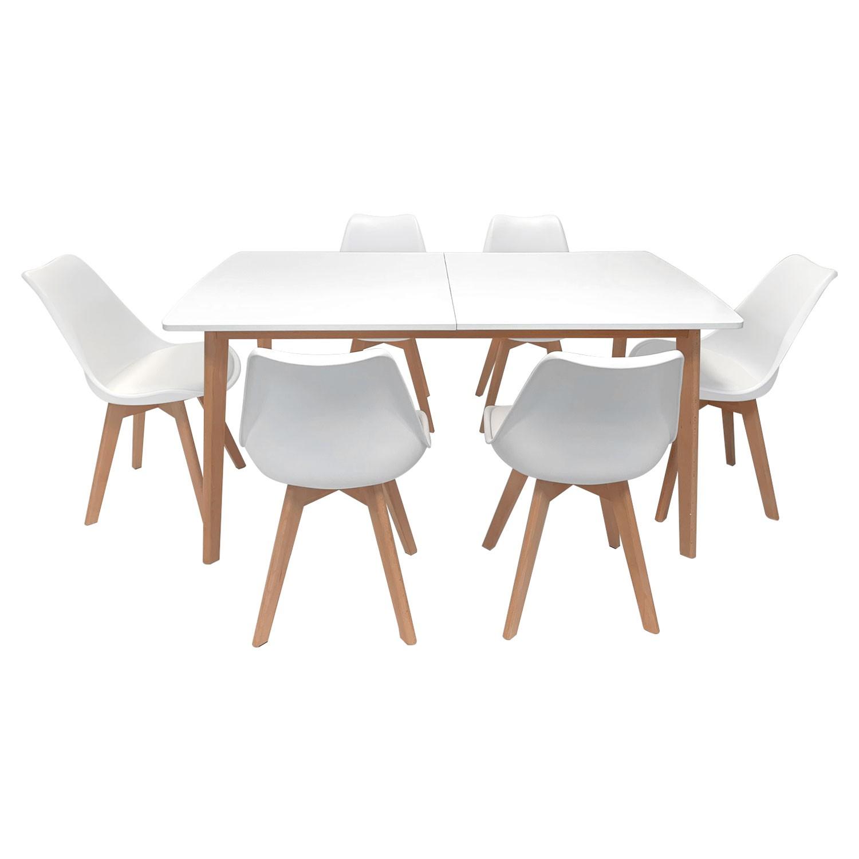 ensemble table extensible 160 200cm helga et 6 chaises nora blanc