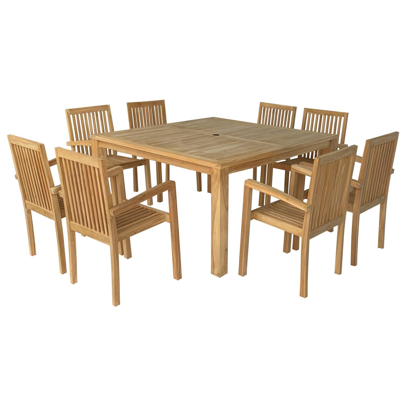 salon de jardin en teck java table carree 8 places