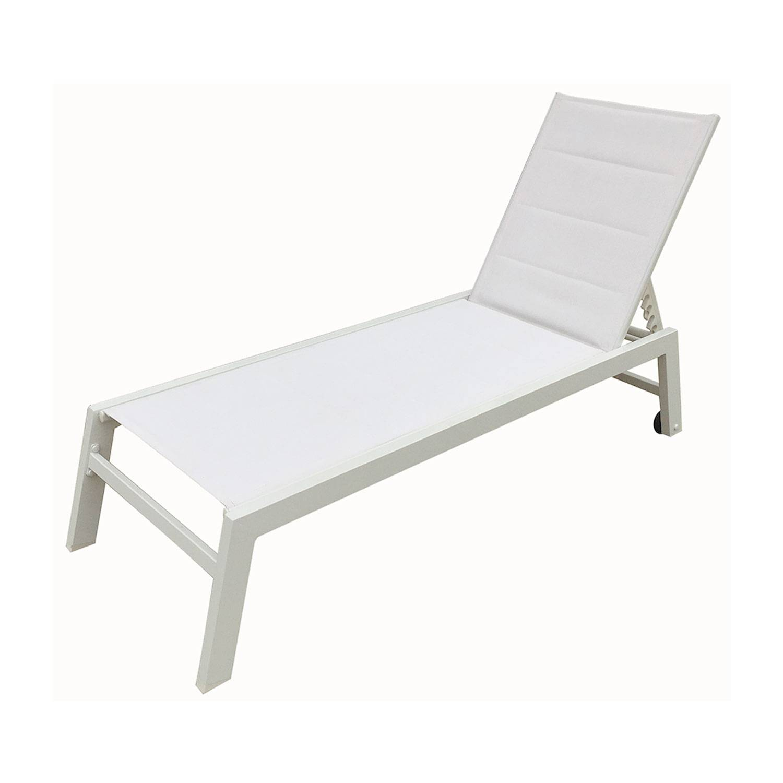 bain de soleil barbados en textilene blanc aluminium blanc