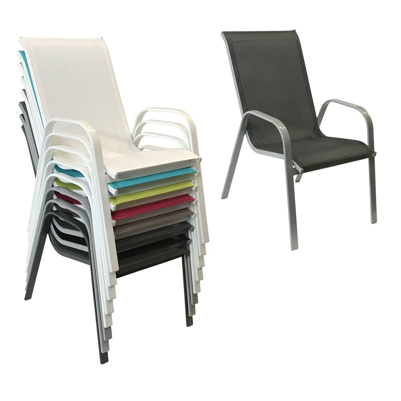 lot de 8 chaises marbella en textilene gris aluminium gris
