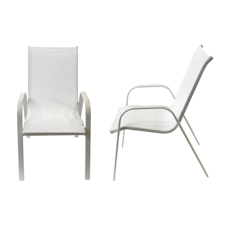 lot de 8 chaises marbella en textilene blanc aluminium blanc
