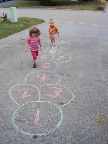 Easy way to make a chalk hopscotch