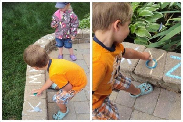 sidewalk chalk letter recognition activity