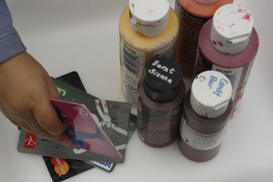acrylic paints and credit cards
