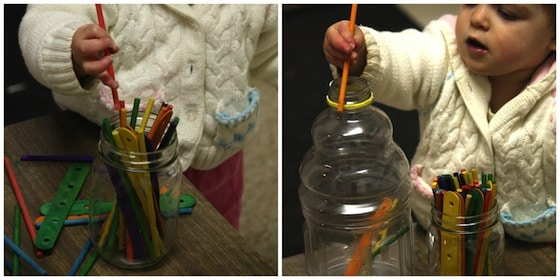craft stick fine motor activity for babies and toddlers