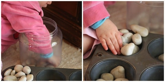 rock sorting fine motor activity for babies and toddlers