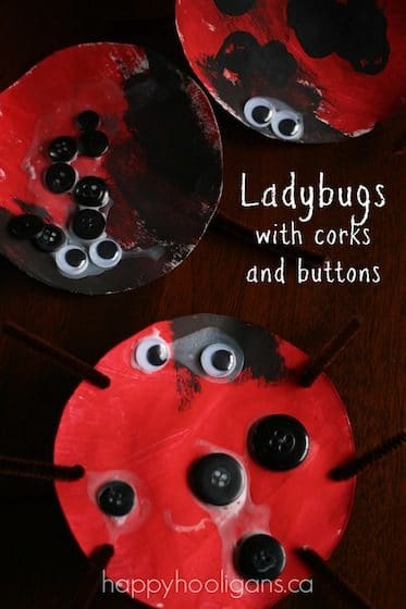 lady bug craft with corks and buttons