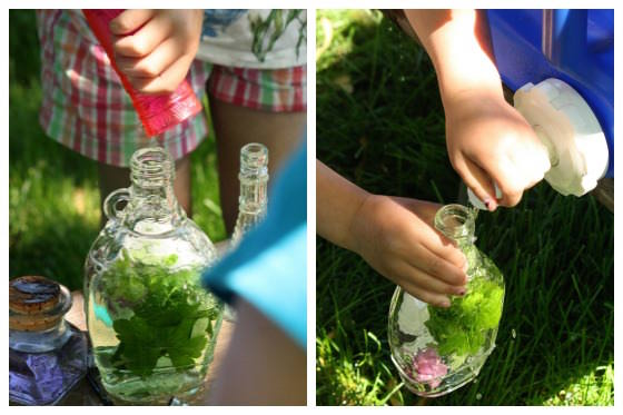 preschoolers filling jars with leaves and water