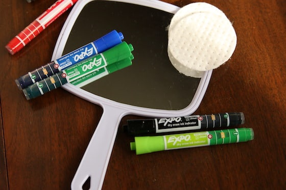 Hand Mirror and Expo Dry Erase Markers