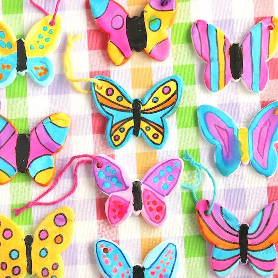 Colourful Clay Dough Butterfly Ornaments