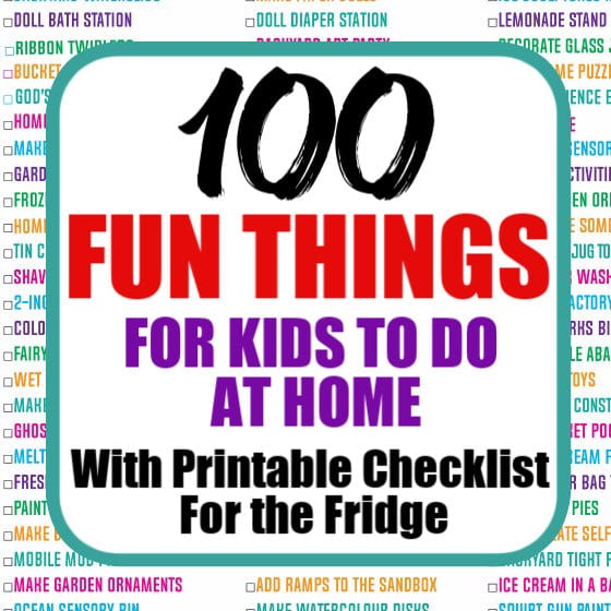 100 kids activities for home Printable