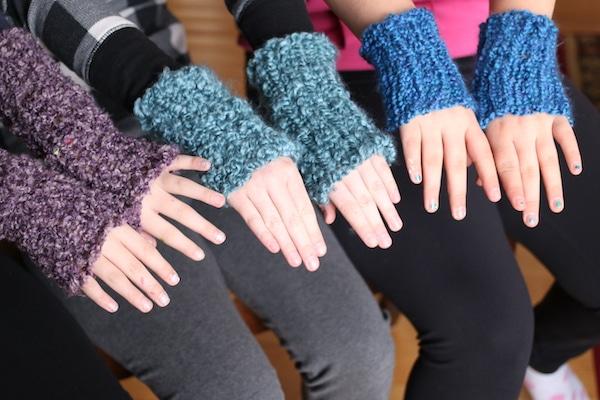 3 kids modelling homemade french knit fingerless gloves