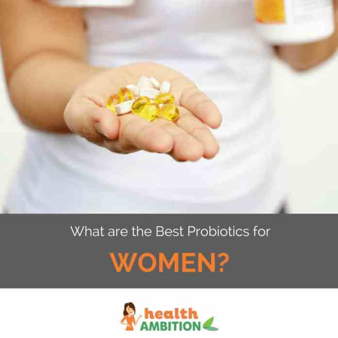 A woman holding probiotics with the title