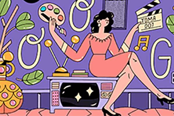 El doodle está compuesto por la caricatura de Elizondo, quien está sentada sobre una televisión  y en la mano tiene una paleta de colores y una pizarra de cine en la otra.