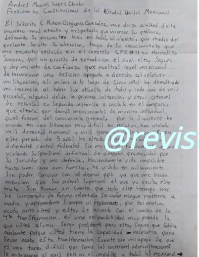 Carta de El Menchito a AMLO. Foto: Proceso.