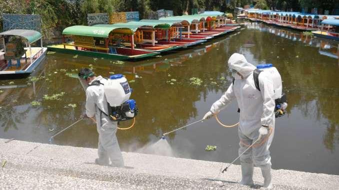 EMBARCADERO. Personal de Protección Civil hizo limpieza profunda en la zona chinampera de la demarcación. Foto: Nayeli Cruz