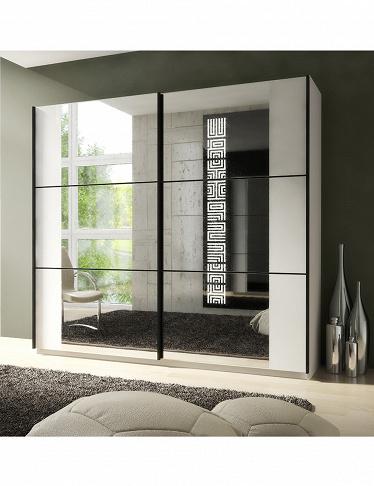 armoire zen avec 2 portes miroir coulissantes